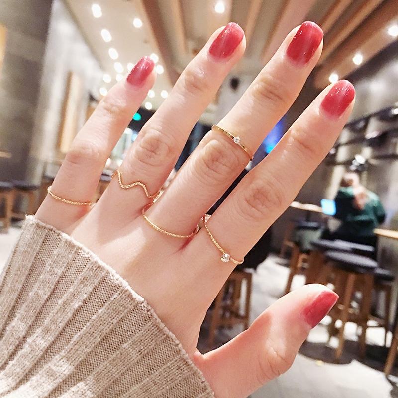 戒指女套装组合日韩潮尾戒个姓关节指环简约网红食指戒玫瑰金极细