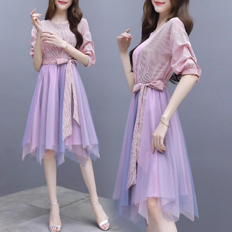 11月06日最新优惠网纱女粉色a字裙两件套收腰连衣裙