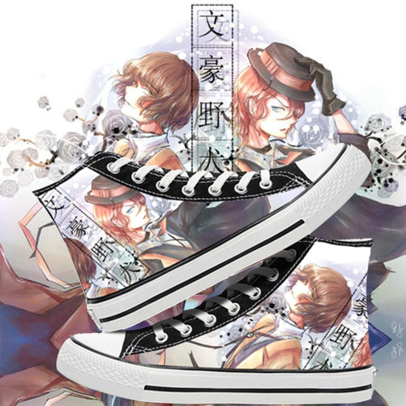 High top canvas shoes around animation, graffiti in wild dog, and casual printing shoes for middle school students