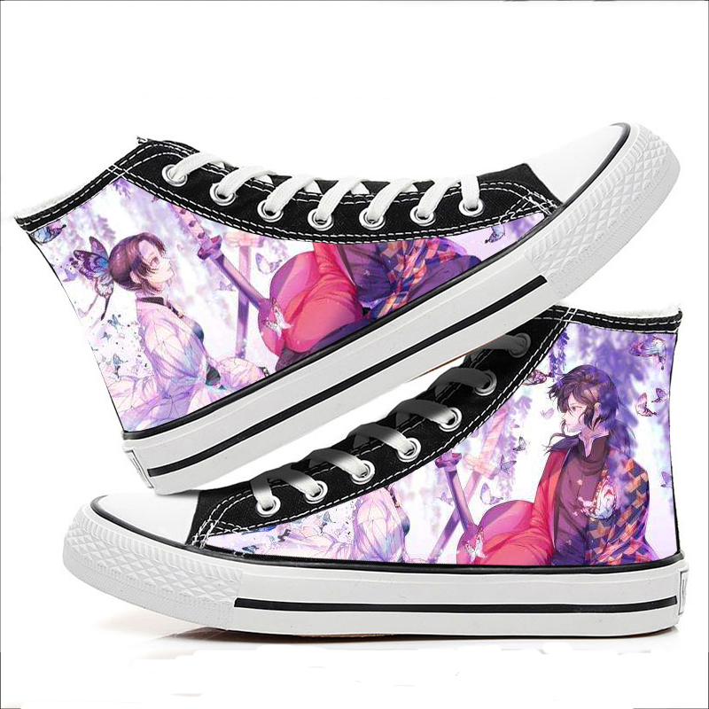 Lovers high top printed shoes ghost out new sports single shoes blade butterfly bear two different yuan breathable canvas shoes
