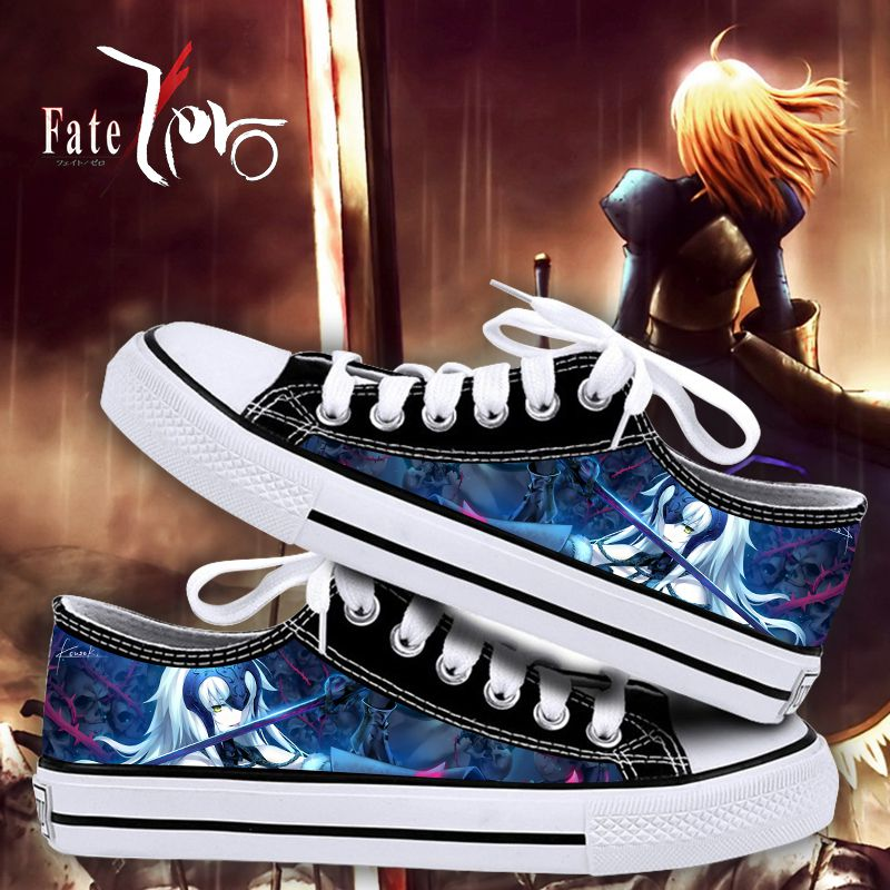 Fat around canvas shoes blackened saber Weigong Shilang men and women animation leisure low top printed shoes gift