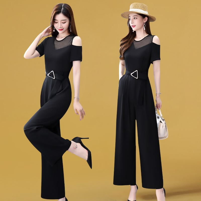 Wide leg Jumpsuit summer thin new womens wear 2021 long style off shoulder short sleeve Jumpsuit