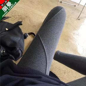 灰色打底裤女外穿春秋款韩版拼接螺纹小脚裤大码冬季加绒棉秋裤女