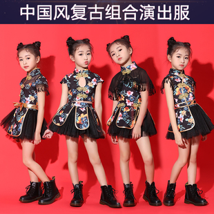 六一儿童演出服新款 女童中国风走秀蓬蓬裙幼儿表演服爵士舞蹈套装
