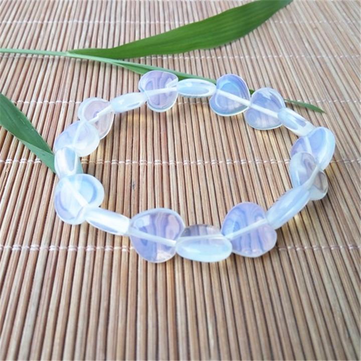 Hot selling new Opal Heart Bracelet opal beauty and beauty love men and womens single Circle Bracelet 12mm