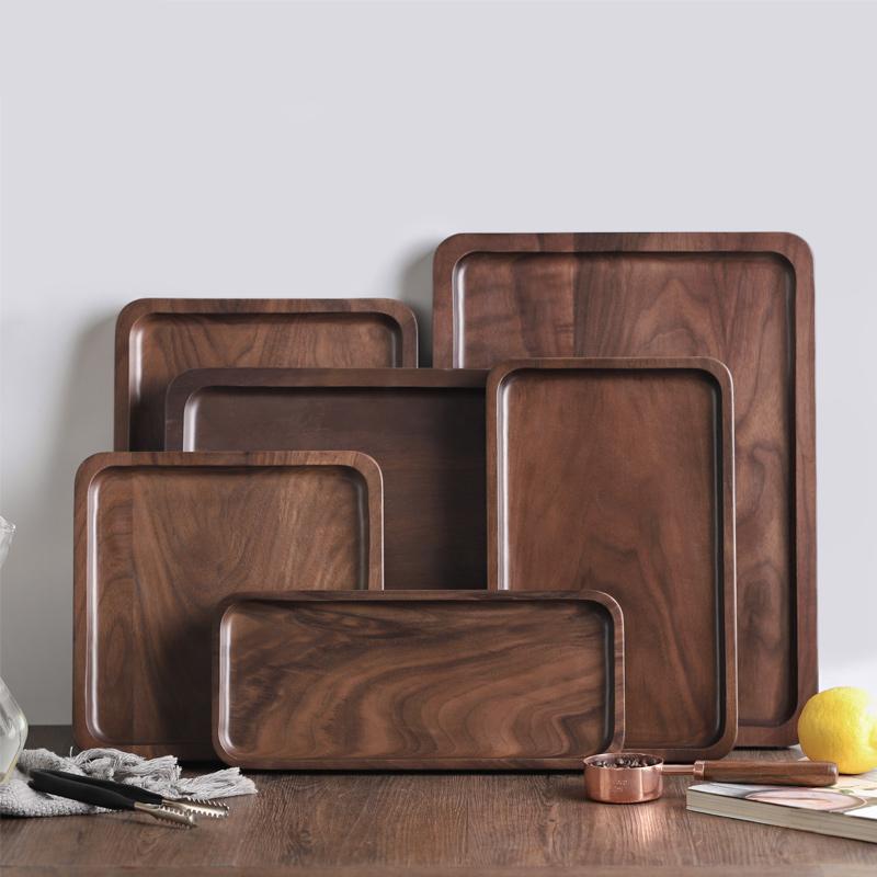 木说 日式黑胡桃木托盘 实木干泡茶盘简约餐盘长方形餐盘点心盘