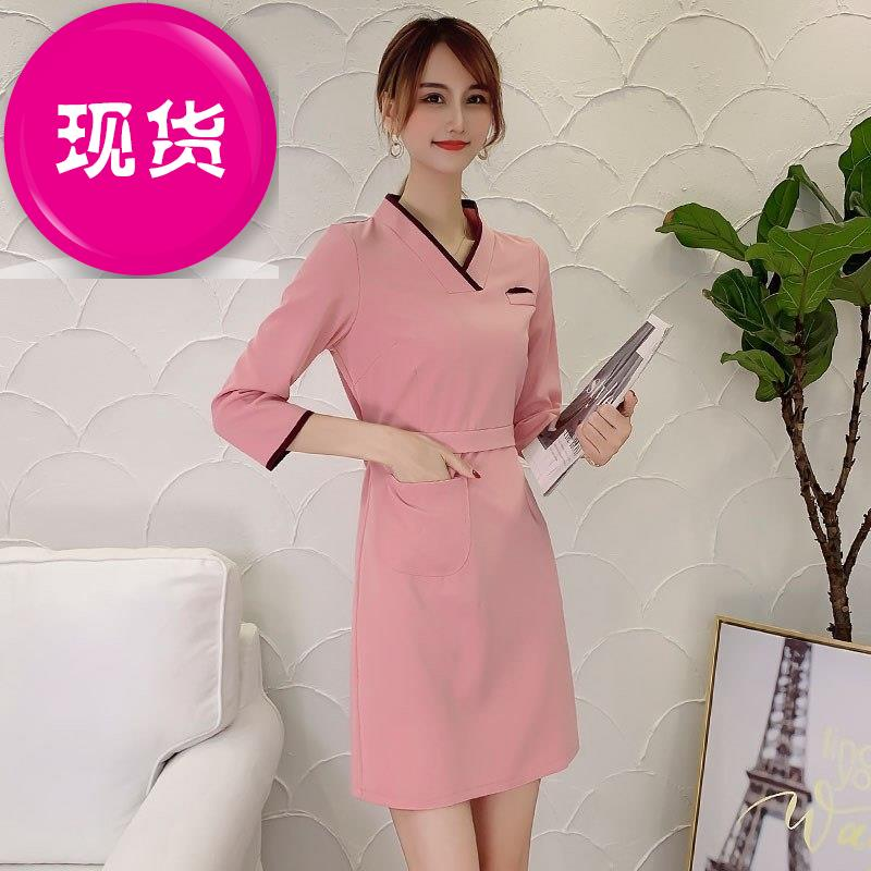 Korean version zipper nurse n-suit white coat summer beautician suit dress split work clothes female Fannie