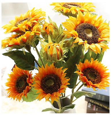 向日葵仿真花假花束客厅摆件落地插花花艺装饰品干花瓶餐桌摆设花