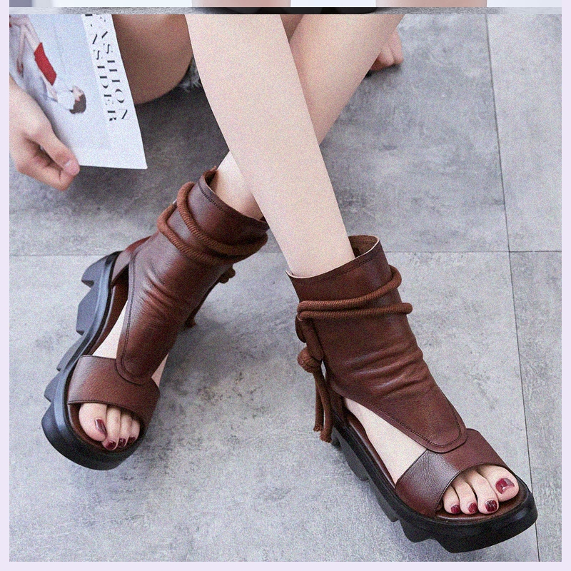 Leather sandals womens top layer leather retro Roman cool boots womens summer new fish mouth casual shoes comfortable