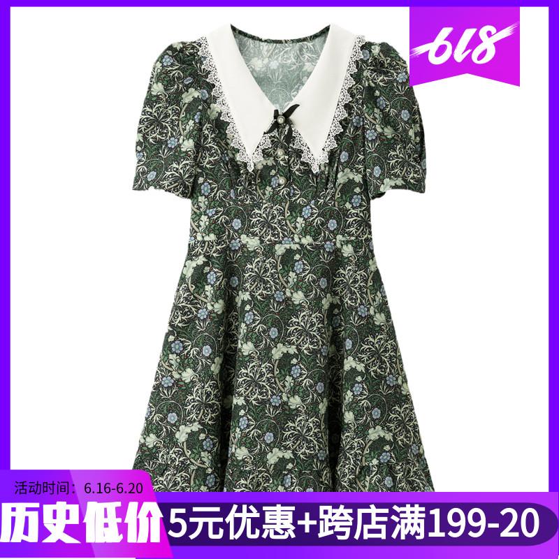 季乐町女装2021夏季虞书欣同款甜美雪纺减龄碎花连衣裙C1FAB2301