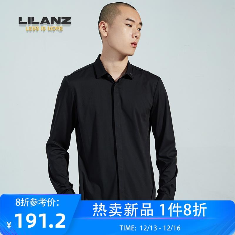 LILANZ/利郎男装秋季新款长袖衬衫商务正装纯黑色衬衣男款潮