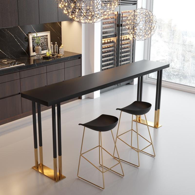 北欧轻奢铁艺实木吧台桌椅家用奶茶店靠墙长条酒吧桌高脚桌椅组合