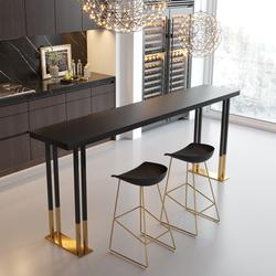北欧轻奢铁艺实木吧台家用高脚桌椅