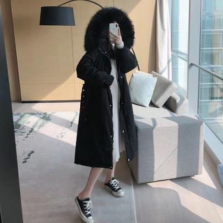 ■大女人Style 黑色派克羽绒服女中长款2019时尚超大毛领显瘦腰带