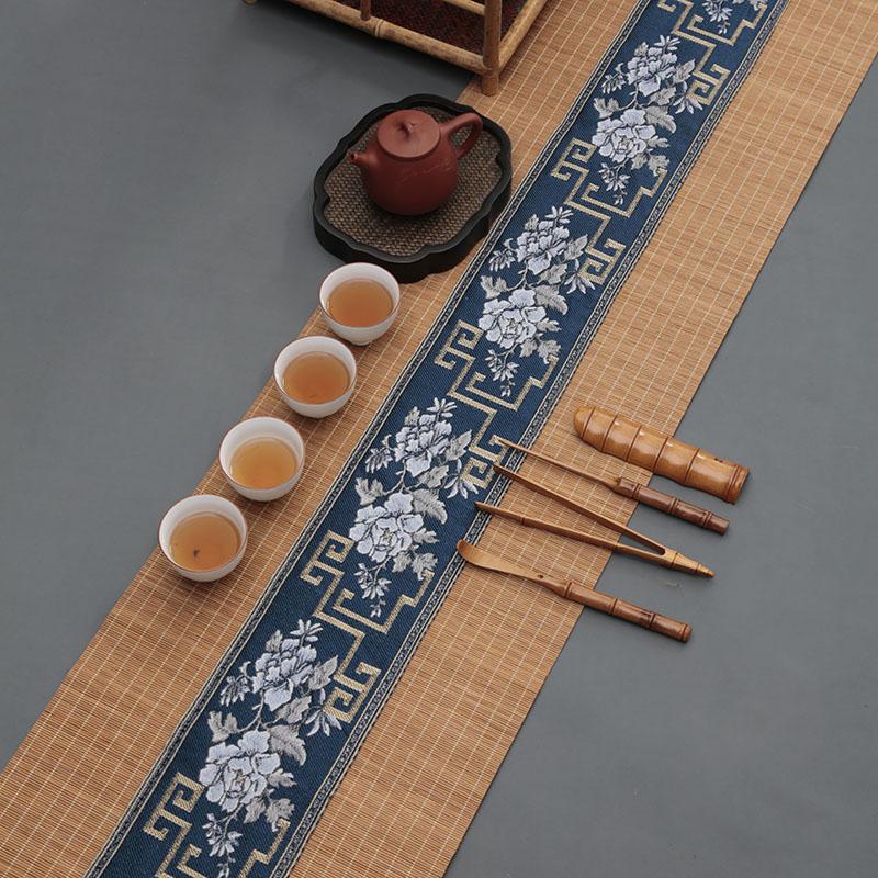 茶席竹席防水日式布艺中式桌旗茶垫干泡垫隔热帘茶道茶具配件功夫