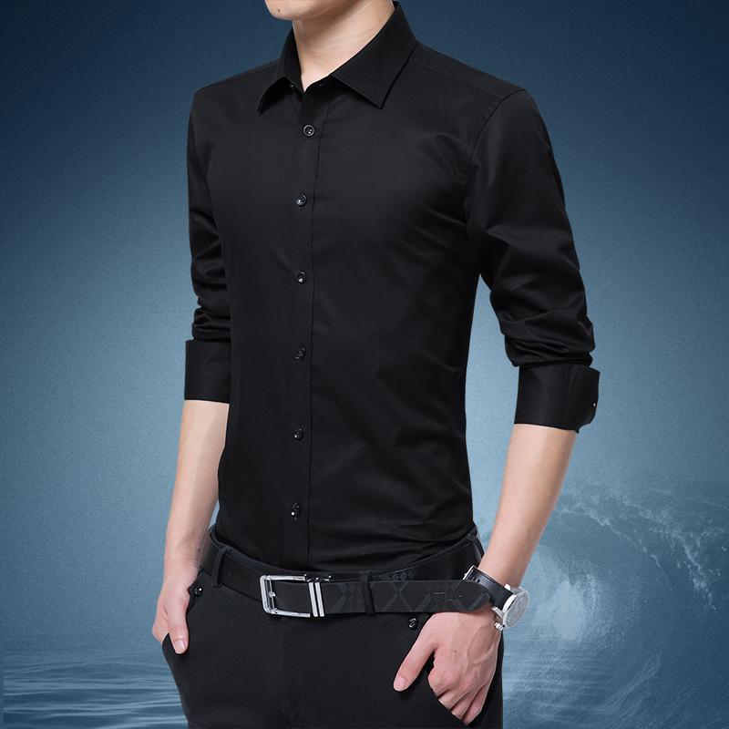 新款男士长袖衬衫2020春秋季薄款衬衣中青年商务职业休闲修身上衣