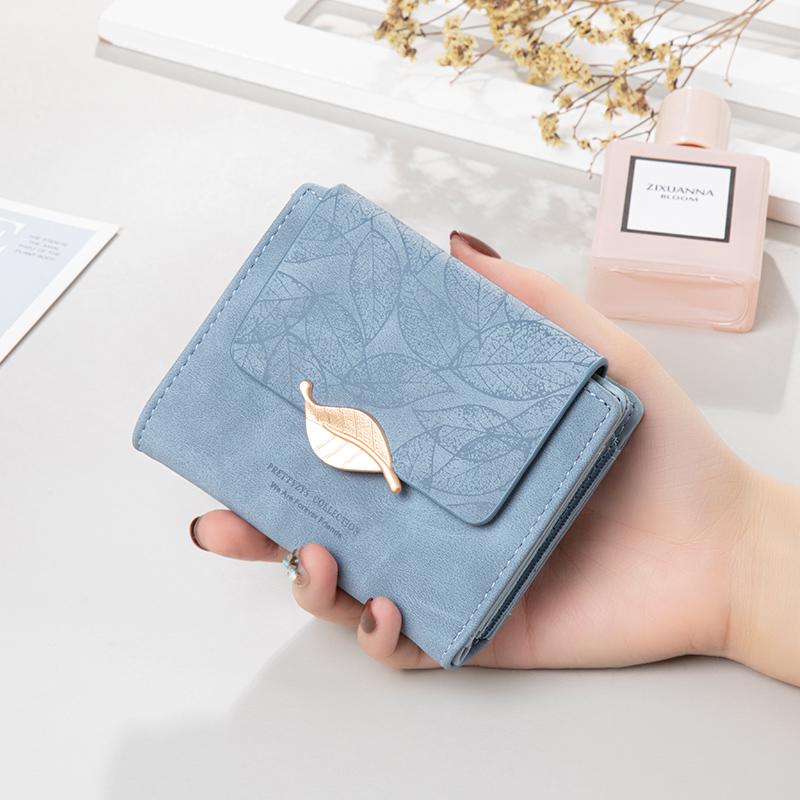 钱包女短款2021新款小众设计简约复古磨砂叶子女士钱包时尚零钱包