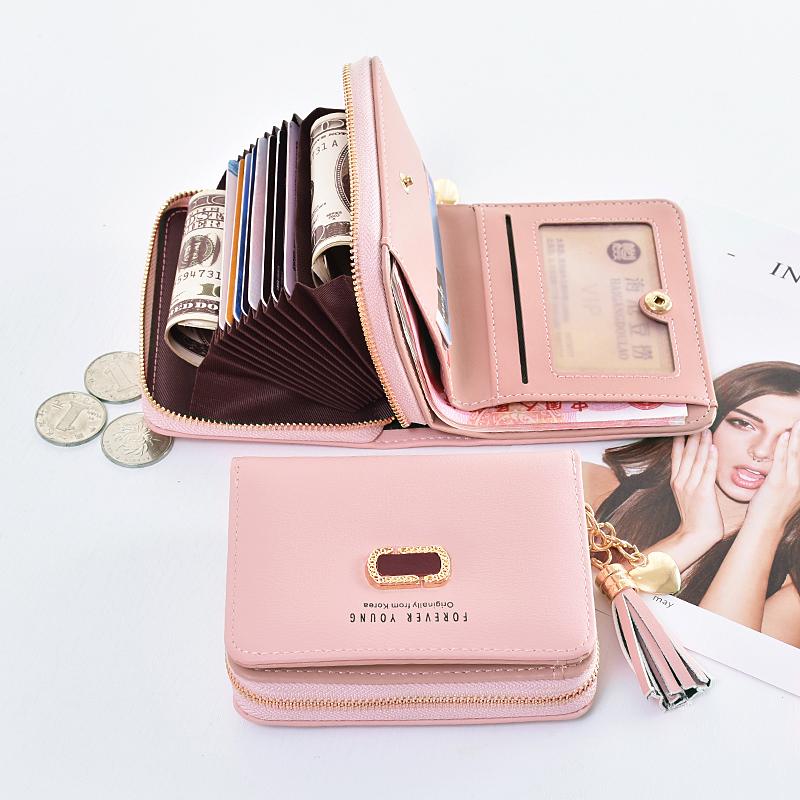奔蕾钱包女短款学生韩版可爱折叠2020新款小清新卡包钱包一体包女图片