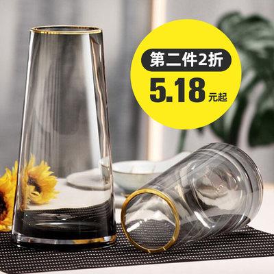 轻奢花瓶摆件北欧简约玻璃花瓶客厅创意家居装饰玻璃描金插花花器