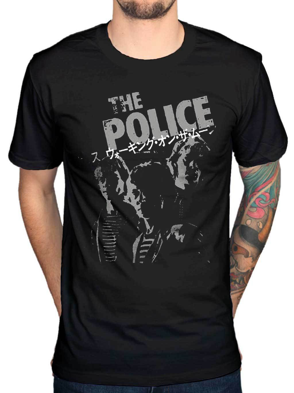 Official police Japanese writing T-shirt metal hard rock band commodity Korean Trend ins short sleeve