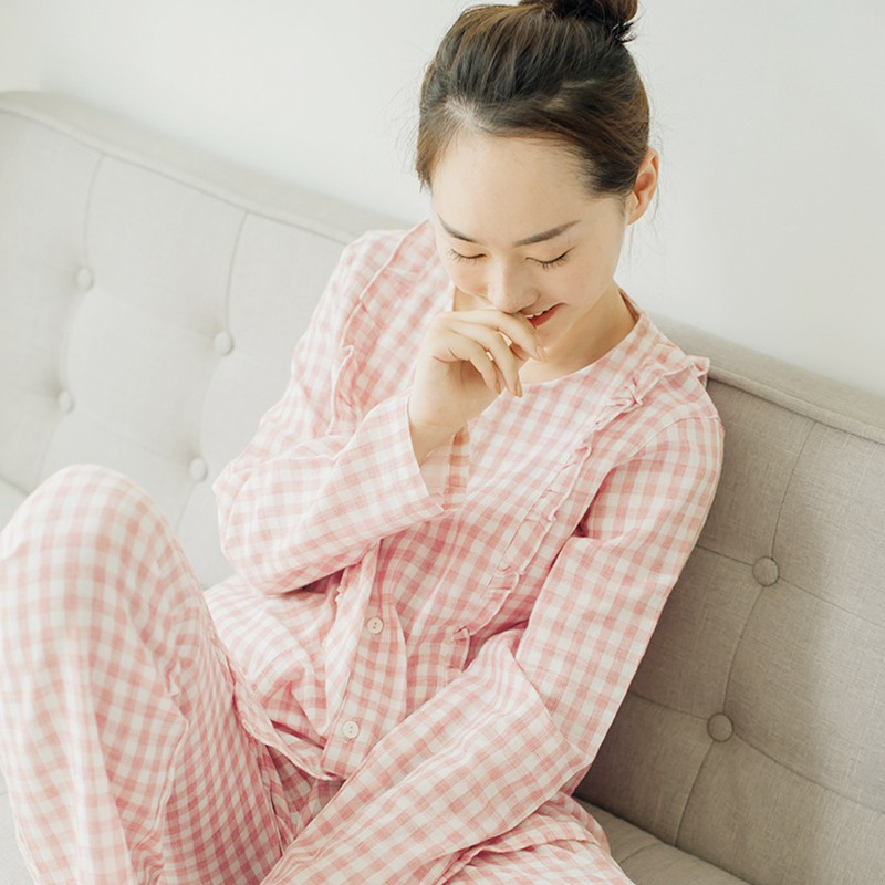 Net red Japanese sweet lace Plaid double layer yarn Pajamas Set Pink household clothes soft and breathable pure cotton