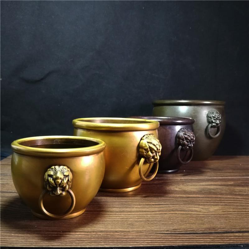 Pure copper, double lion ear jar, ornament, Jucai, zhenzhai, round jar, censer, home decoration, ornament, gift, antique, copper collection