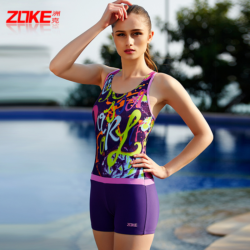 Zoke zhouke swimsuits womens sports new conservative belly covered slim one piece hot spring swimsuits flat angle slim swimsuits