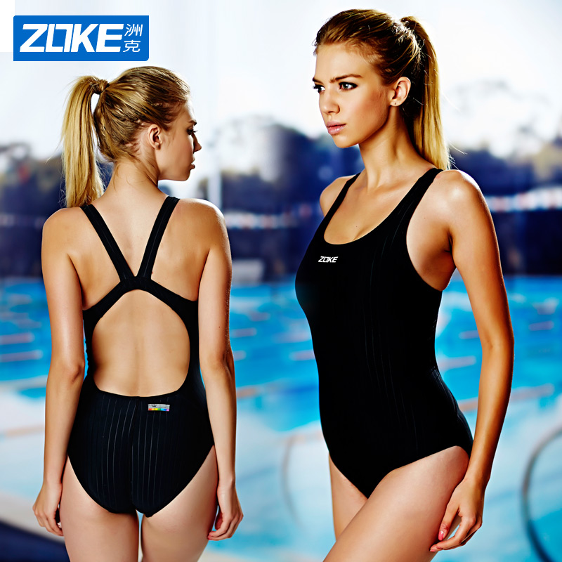 Zoke zhouke swimsuit female conservative cover belly show thin one piece flat angle swimsuit sexy professional sports backless swimsuit