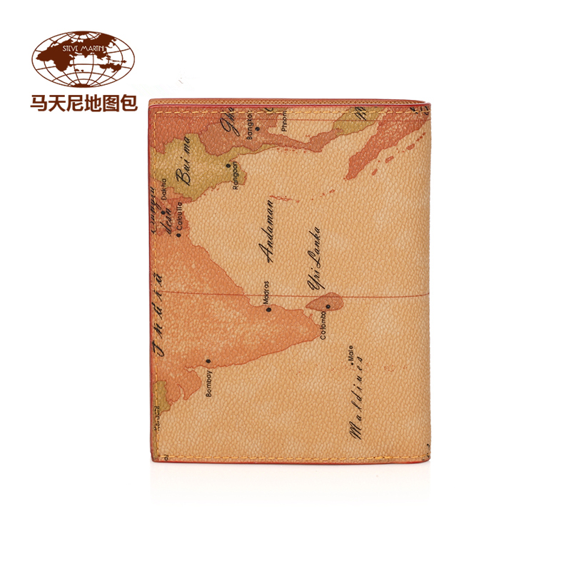 Map bag wallet mens new fashion short money clip European and American authentic zero wallet business bag Martini