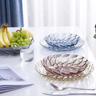 怡点北欧风格仿水晶果盘创意现代客厅塑料糖果零食盆装水果的盘子