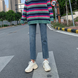 牛仔裤女2020春装新款高腰韩版百搭显瘦显高学生宽松九分直筒裤子