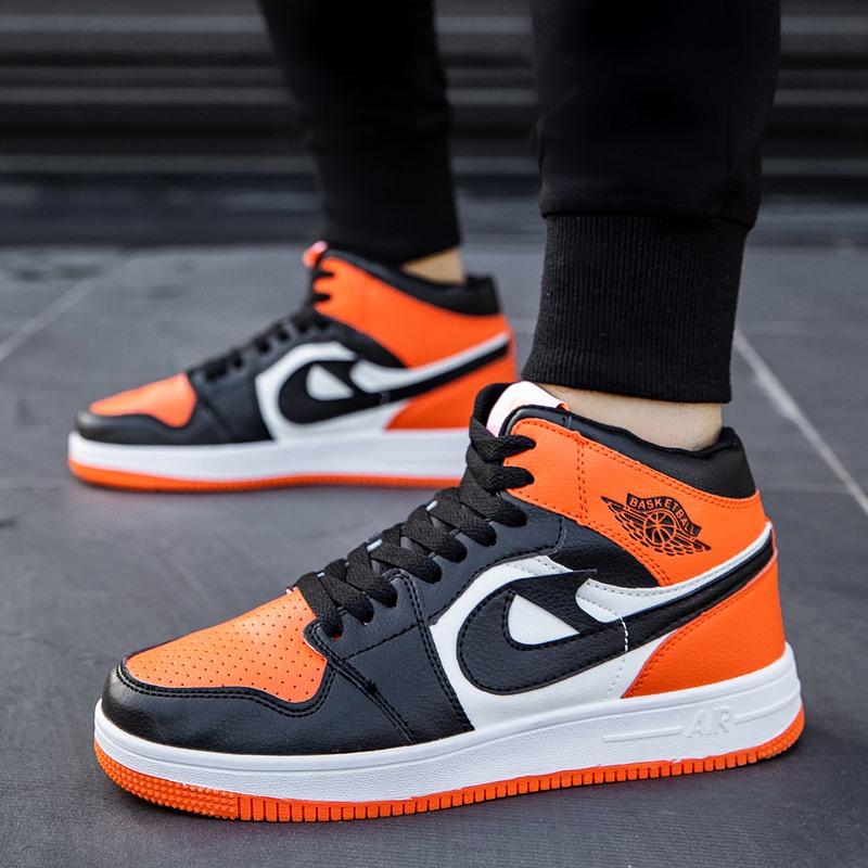 轩尧耐克泰橘色空军一号aj男鞋怒吼天尊橙色板鞋男高帮桔色运动鞋