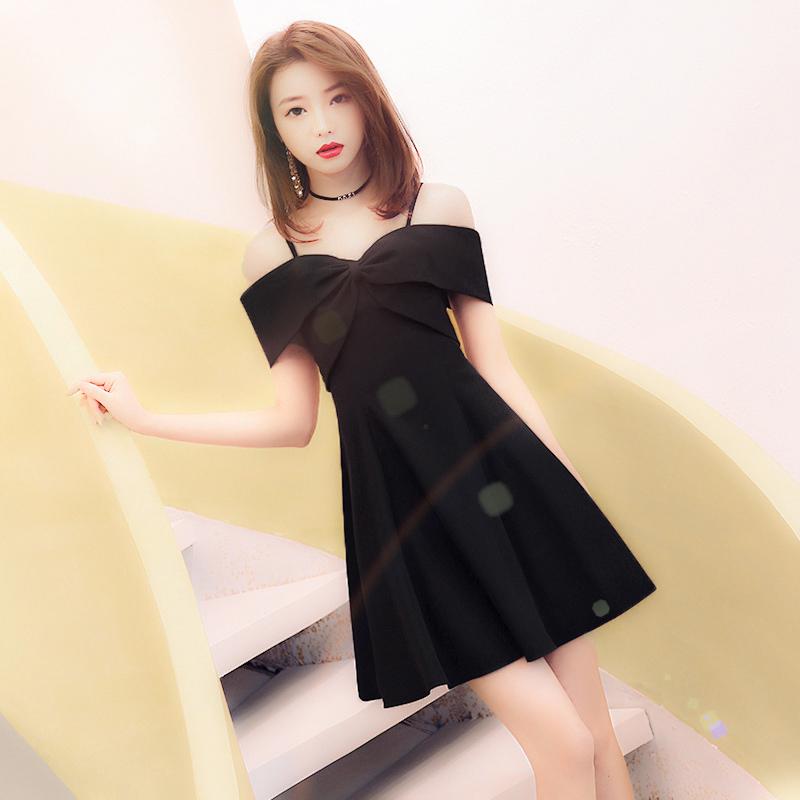 小个子晚礼服女2020新款宴会气质名媛短款平时可穿黑色短款连衣裙