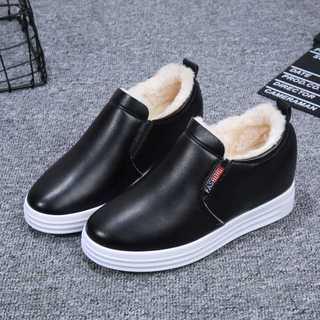 【加绒/单里】秋冬小白鞋内增高女鞋一脚蹬加棉加厚底休闲运动鞋