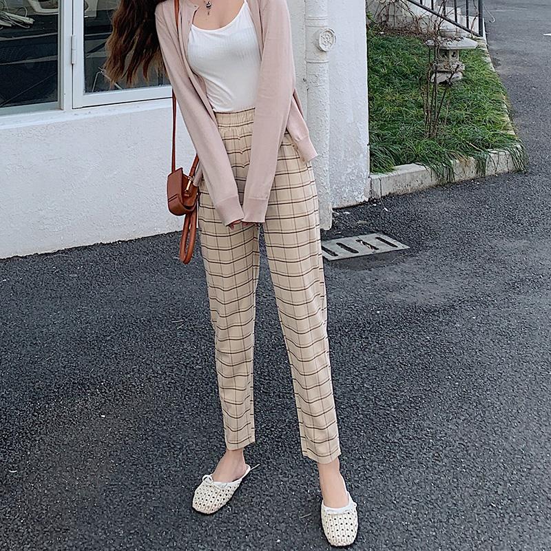 薄款高腰修身格子哈伦裤女裤小脚裤