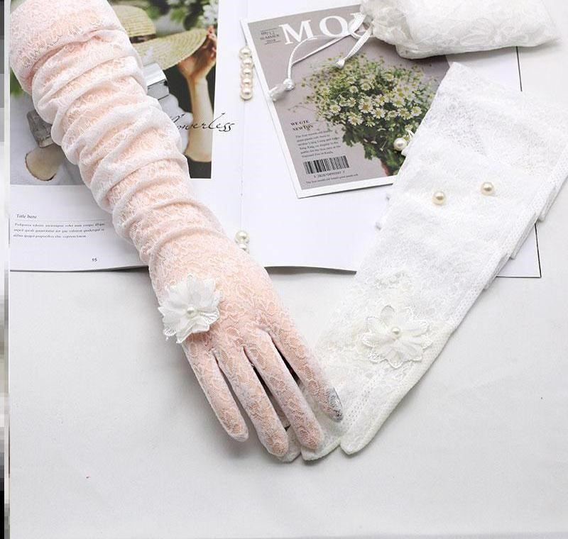 Sun shading new accessories lace fan net red mesh Bridal Gloves elegant thin wedding goddess embroidery missing finger
