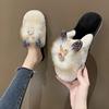 水钻小兔子毛绒绒拖鞋女冬季居家保暖毛毛拖时髦洋气包头棉拖舒适