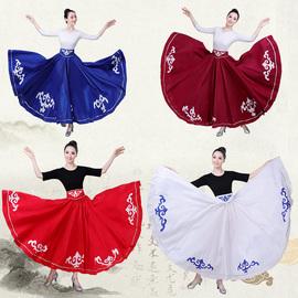 蒙古舞蹈服练习功服大摆裙女成人新疆维族服装半身长裙民族风新款图片