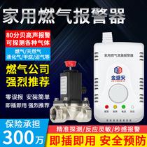 家用燃氣泄漏報警器自動斷氣廚房天然氣煤氣電磁切斷閥智能探測儀