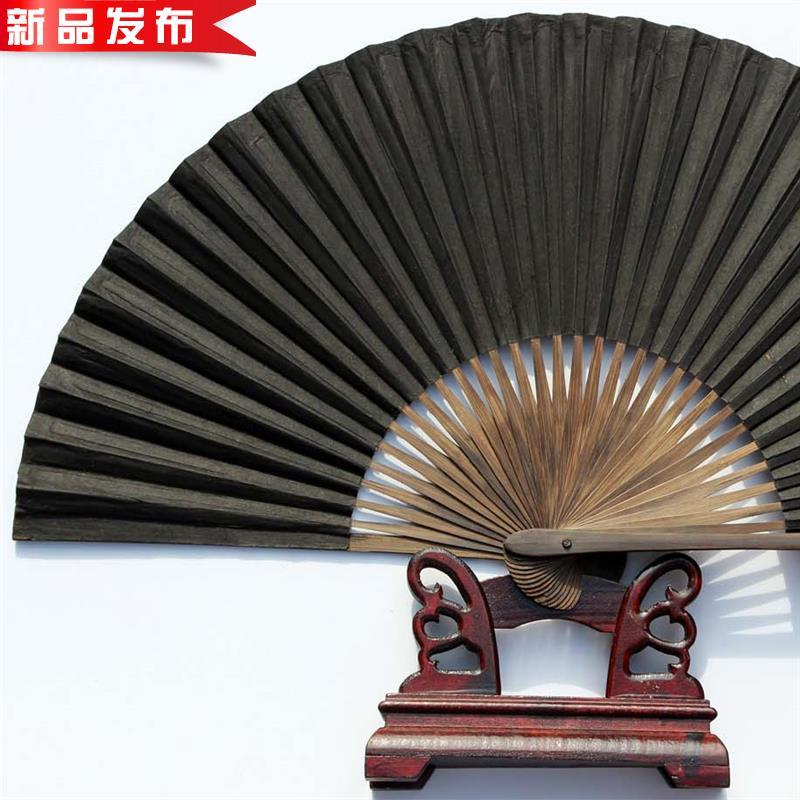 戏曲曲艺用黑扇子绍兴传统扇子 全扇工l艺毛全本黑纸折扇