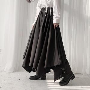 隱覓山本設計暗黑風褲子女小眾不規則裙褲女裝寬松闊腿褲黑色褲裙