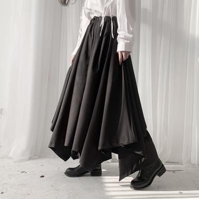 隐觅山本设计暗黑风裤子女小众不规则裙裤女装宽松阔腿裤黑色裤裙