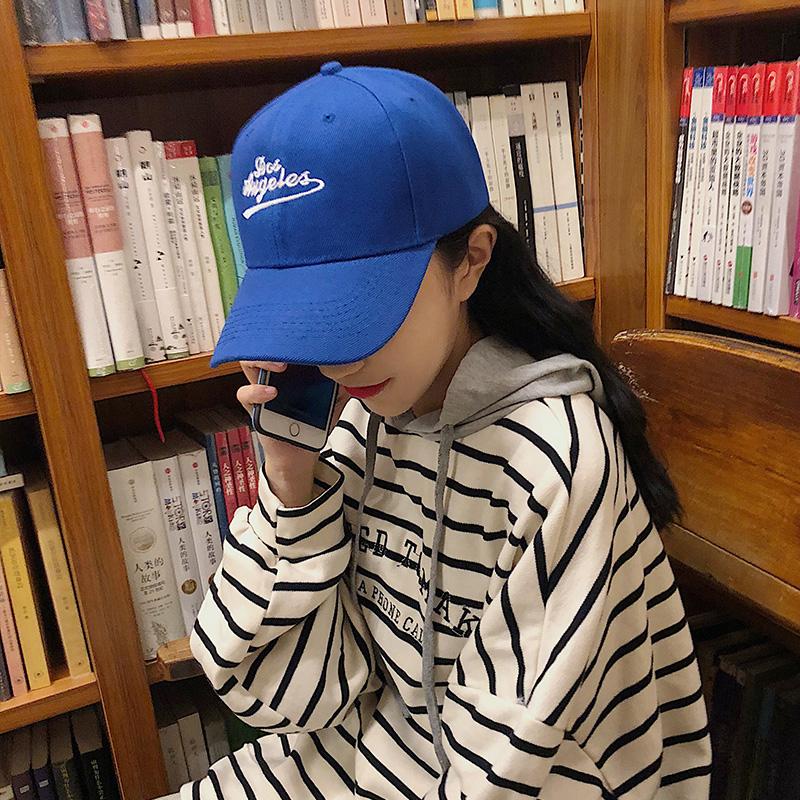 潮牌棒球帽女字母刺绣宝蓝色鸭舌帽男街头春夏季时尚韩版情侣帽子