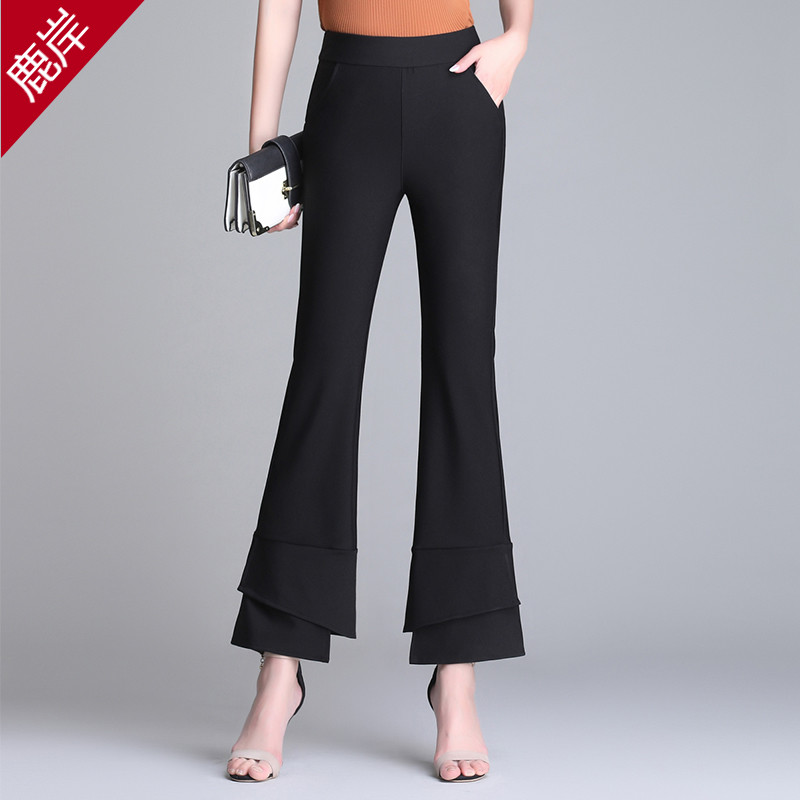 Micro flared pants womens high waist quarter pants show thin suit pants womens drooping feeling 2020 spring Korean black spring summer