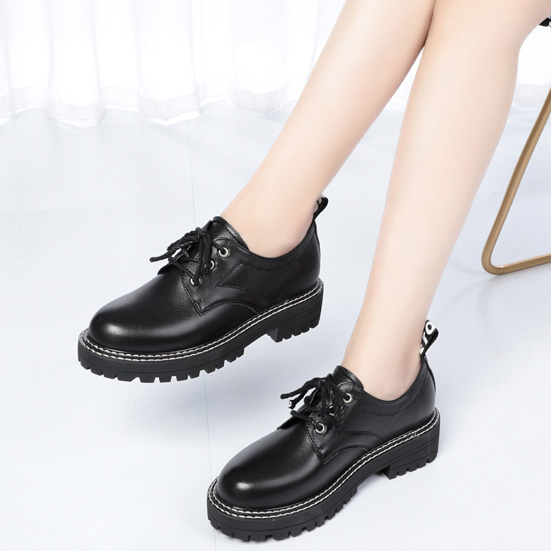 Soft leather lace up small black shoes womens leather shoes British style thick sole casual single shoes womens large shoes leather Oxford Shoes