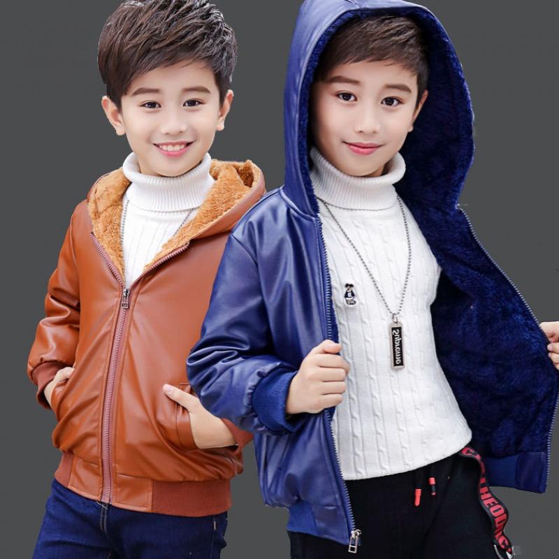 男童外套儿童皮衣中大童2-15岁加绒加厚2020新款韩版夹克潮50P