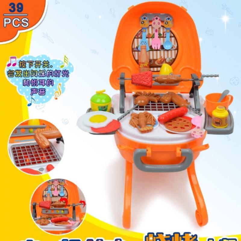 宝宝仿真厨房类儿童烧烤串 厨房玩具套装儿童过家家户外烧烤炉玩
