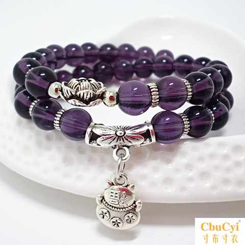 Amethyst multi-layer hand beads womens long jewelry Yunnan ethnic style bracelet fashion features lovers hand string Tibetan jewelry