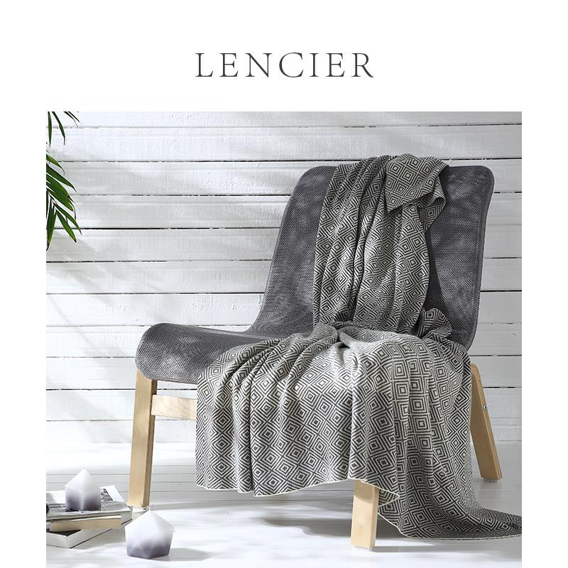 Lencier Nordic cotton knitting blanket air conditioning cover blanket office nap blanket leisure blanket orbino