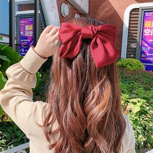 韩国大蝴蝶结发夹子顶夹发饰红色发卡子头饰少女超大网红ins头绳